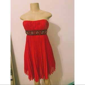 Bright Red, Fun, Beaded, Short, Prom Dress